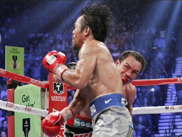 Juan Manuel Marquez punched Manny Pacquiao's right chin that brought the latter to a humiliating defeat.