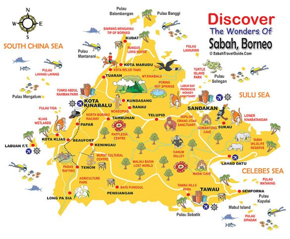 Map of Sabah. Malaysia and the Philippines have a long-standing dispute on Sabah's sovereignty.