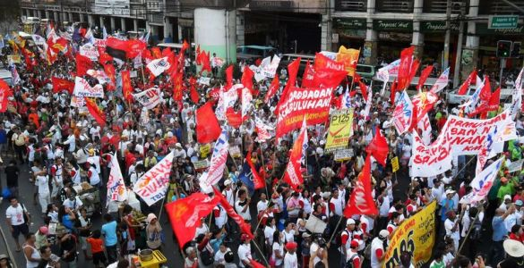 Typical May Day rally in Manila, Philippines wanting for minimum wage increase, abolition of contractualization, security of tenure, and many more.