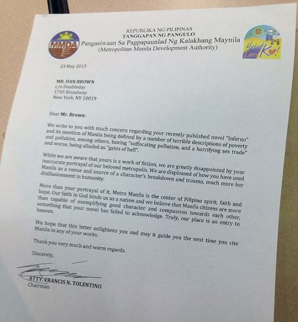 "Butthurt letter by the Metropolitan Manila Development Authority condemning Dan Brown's description of Manila as ""Gates of Hell"""