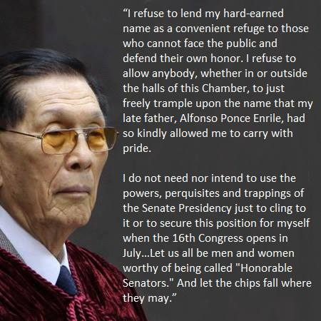 Excerpt of Senator Juan Ponce Enrile's resignation speech as Senate