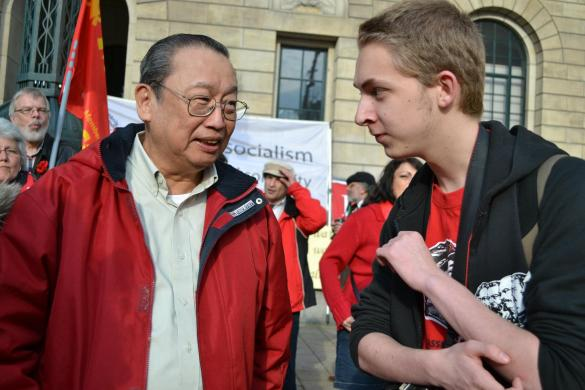 "Jose Maria ""Joma"" Sison (left), founder of the Communist Party of the Philippines with Thomas van Beersum (right). This photo is a proof that he is associated to that criminal commie who should have been deported and tried for his offenses he committed for many years of fighting to have communist rule in the Philippines. (SOURCE: Van Beersum's FB account)"