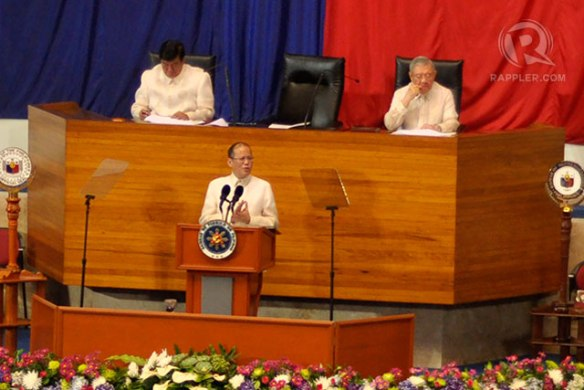 President Benigno Aquino III addresses before the Congress, 22 July 2013.